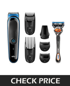 Braun MGK 3045 beard trimmer is not only for the beard but also it can use as a hair and body trimmer. It helps you for 7 precision styles and blades are super sharp for their job. Braun MGK3045 trimmer has 13 precision lengths setting for efficient trimming. With the package, you will receive a free Gillette fusion ProGlide razor. This trimmer is fully washable and it has 60 minutes runtime with no performance loss after 8 hour charge and LED indicator informs about the charging status.
