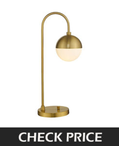 Modern Gold Table Lamp with White Glass Globe